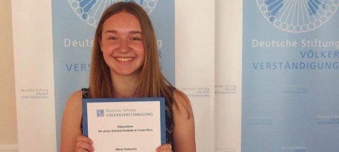 Alicia Reinecke bekommt ein Stipendium für Costa Rica