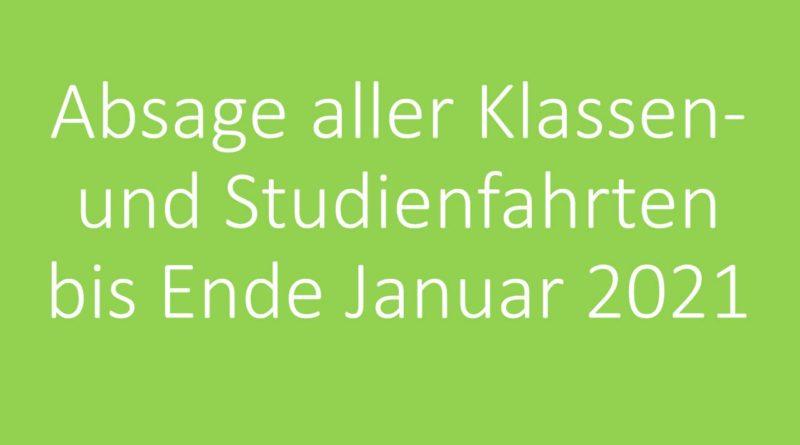Absage aller Klassen- und Studienfahrten