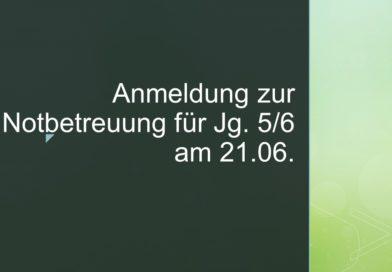 Notbetreuung am 21.06.